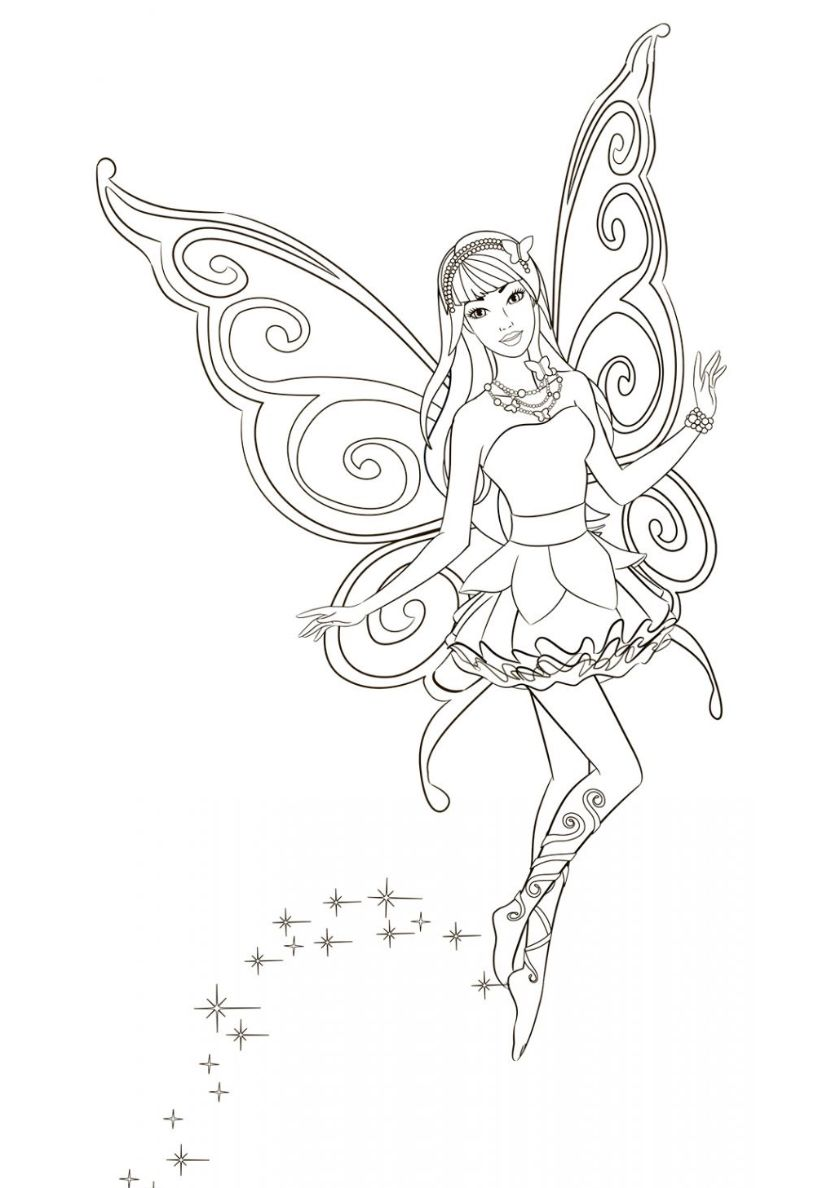 Mysterious Fairy High Quality Free Coloring From The Category Barbie More Printable Pictures On O Fairy Coloring Pages Fairy Coloring Mermaid Coloring Book