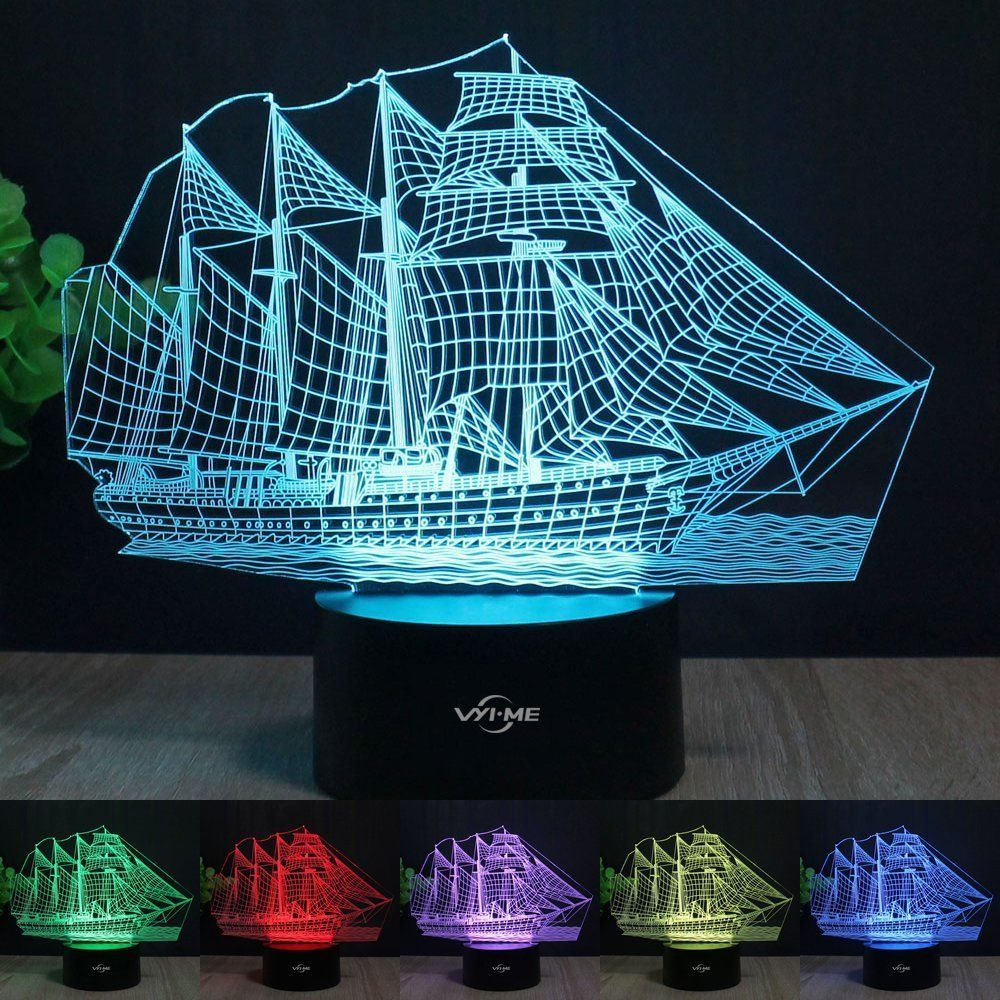 Sailboat 3d Lamp Stunning Visual Three Dimensional Light Effect Usb Powered Touch Switch 7 Colors Change Creative De Family Holiday Gifts Lamp 3d Illusions