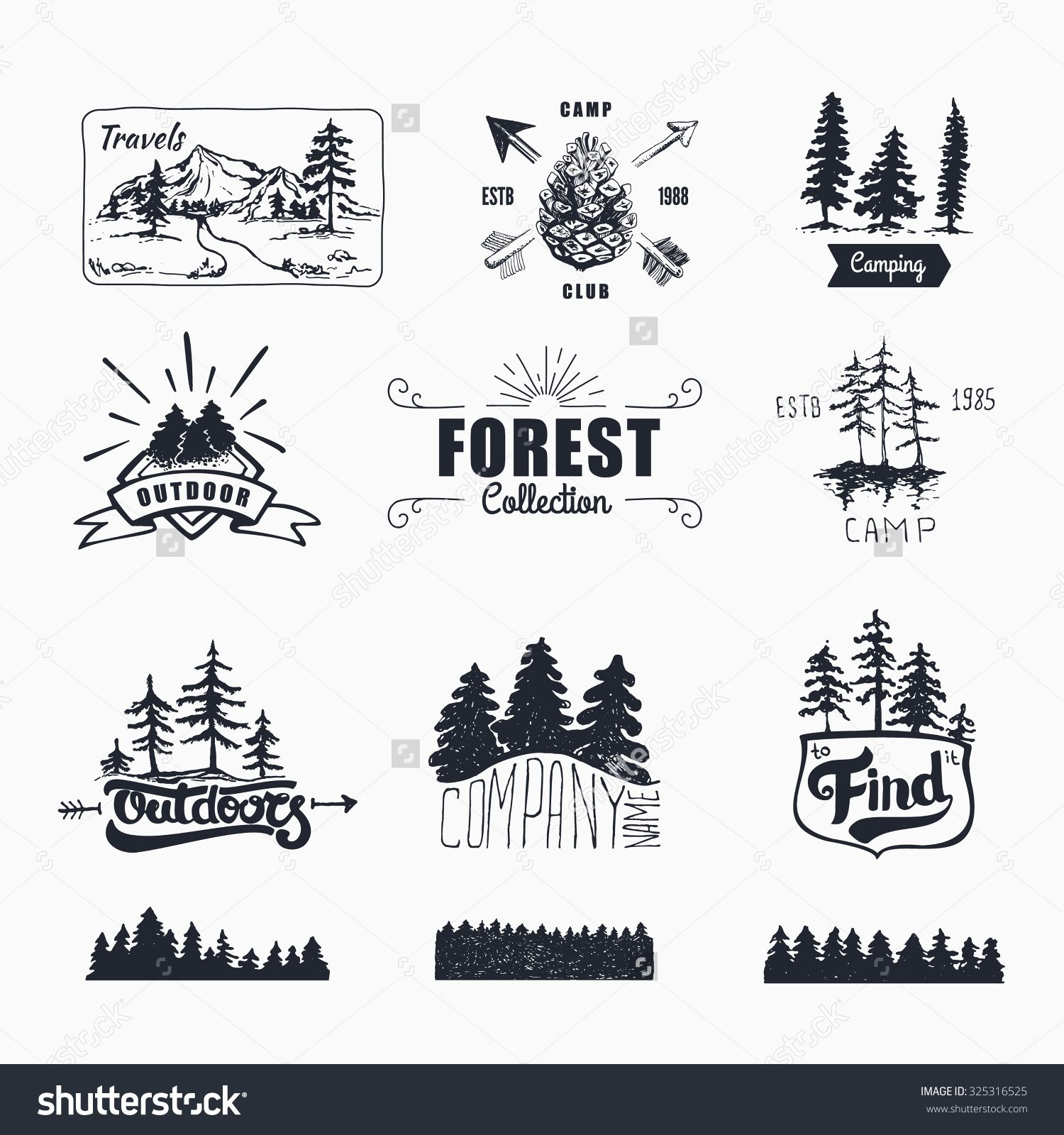 Hand-Drawn logo set. Retro collection of outdoor company 8abf79a1cb39
