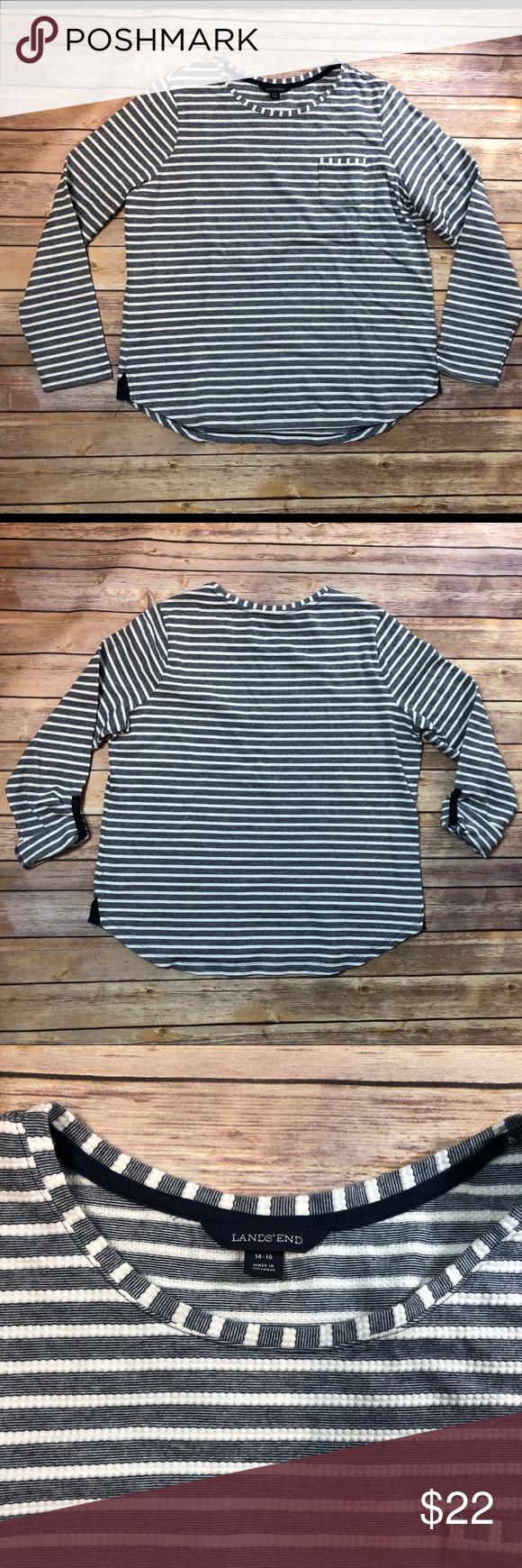 Lands End Women S Nautical Striped Shirt Size 14 Striped Shirt Navy White Striped Shirt Shirt Size [ 1740 x 580 Pixel ]
