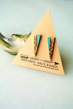 hand cut, burned, and painted maple post earrings from refined reclaimed
