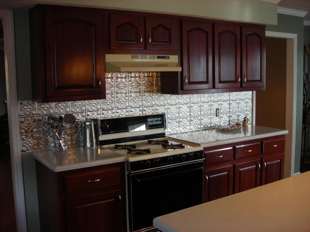 Tin Backsplash For Kitchen Kitchen Exciting Kitchen Decoration With  Mahogany Kitchen Cabinet Including Silver Tin Kitchen Backsplash And Black  Stand Gas ...