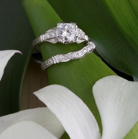 Art Deco Filligree Engagement Wedding Ring Set Mellow Antiques Don T Like The Band
