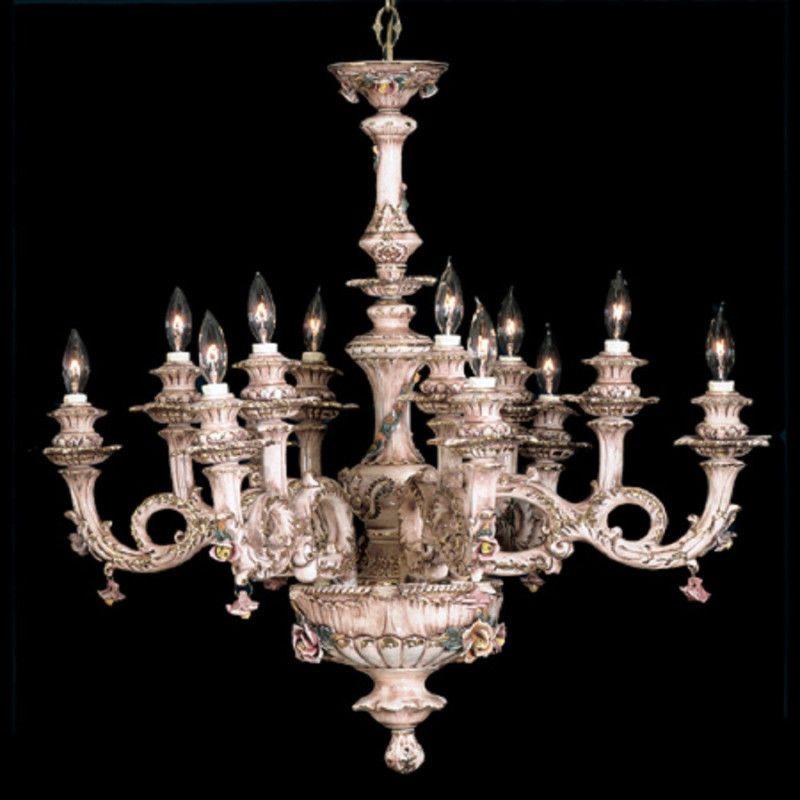 Capodimonte Italian Porcelain Chandelier 12 Light (New) #CeilingFixtures - Capodimonte Italian Porcelain Chandelier 12 Light (New
