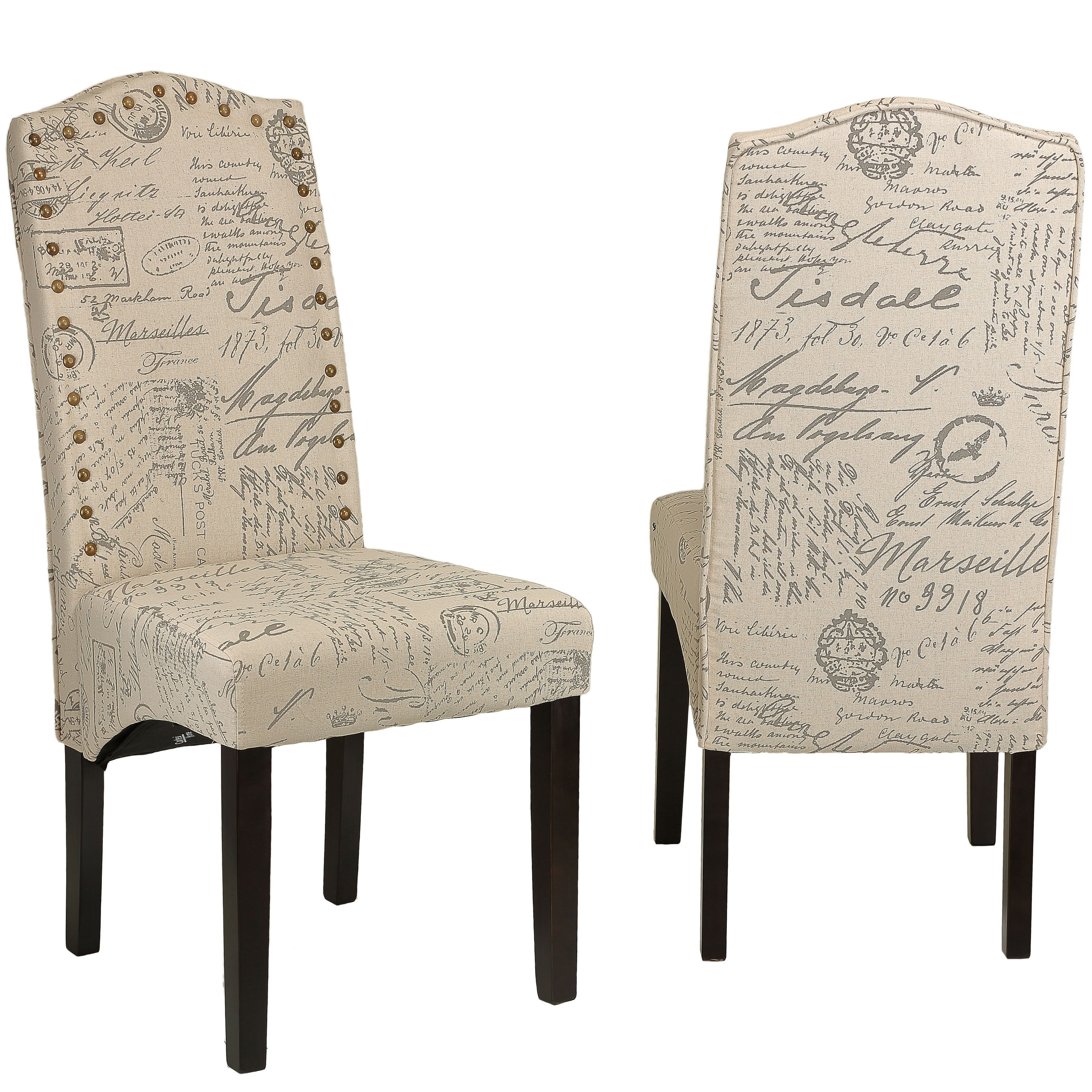 cortesi home miller beige script fabric dining chair set of 2