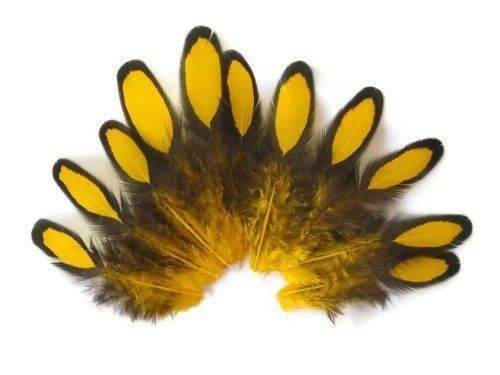 yellow laced hen feathers for craft feathers 12pc bag by