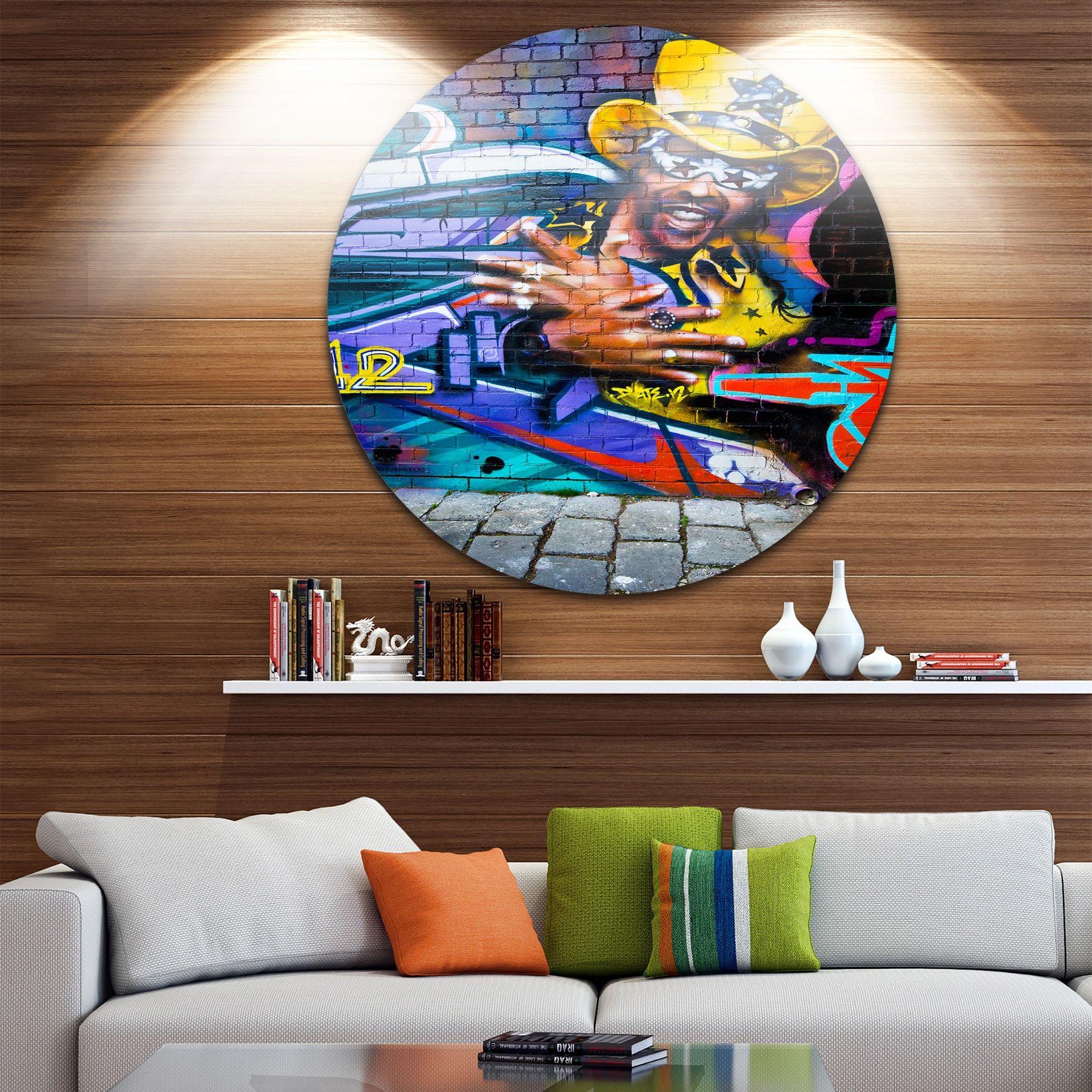 Designart \'Melbourne Graffiti Art\' Street Art Round Wall Art ...