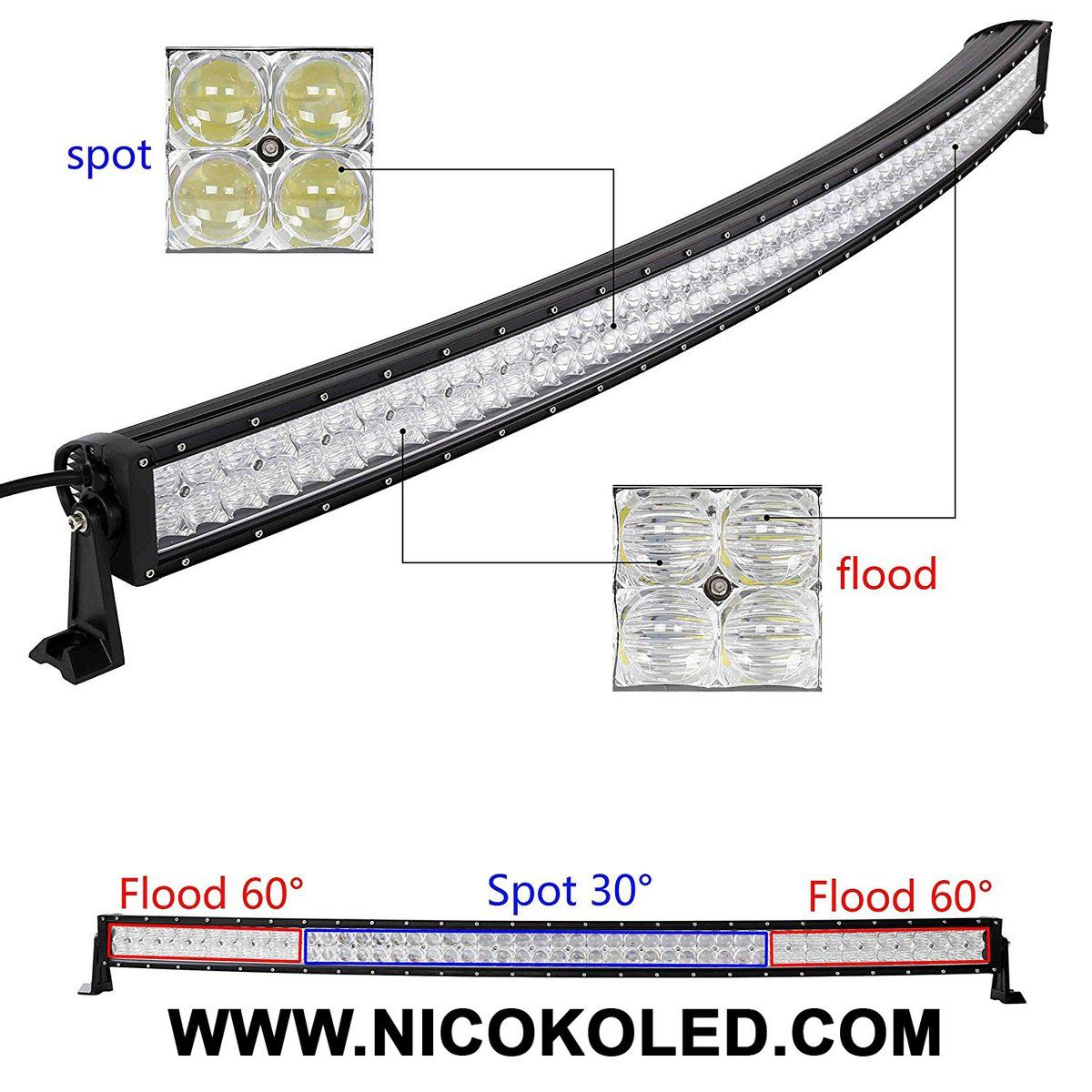 Nicoko Multi Color 5d Cree Led Light Bar Curved 50inch 288w Flood 50 Inch Wiring Harness Spot Combo