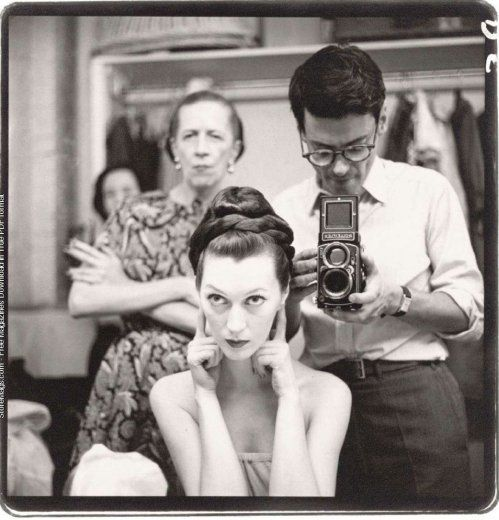 Diana Vreeland, Dovima and Richard Avedon, 1955.