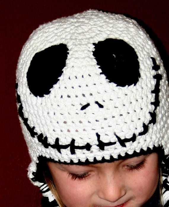 Crochet Jack Skellington Earflap Beanie Hat - Etsy $22.00 | crafts ...