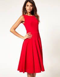 Resultado de imagen de midi red dress  lace fit and flare