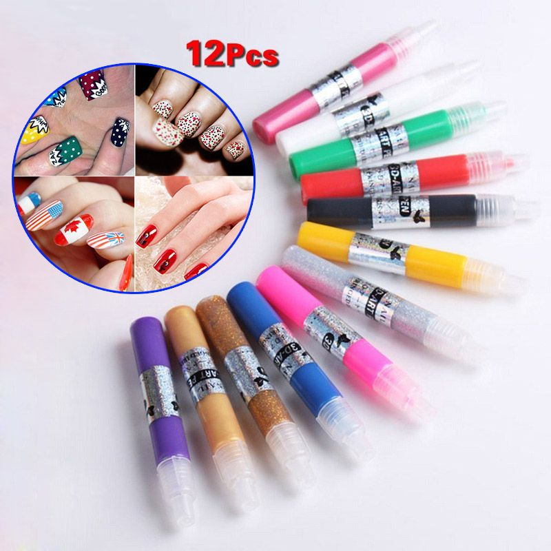 12 Colors Professional Beautiful 3D Nail Art Polish Paint Drawing ...