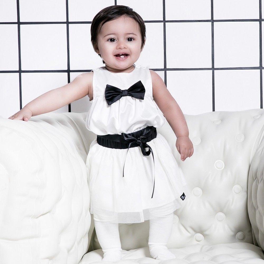 The Tiny Universe Baby Girls White Satin Bodysuit Lookbook