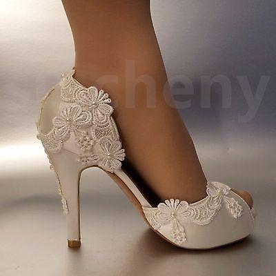 Su Cheny 3 4 Heel Satin White Ivory Lace Pearls Open Toe Wedding Bridal Shoes Ebay Satin Wedding Shoes Bridal Shoes Wedding Shoes Lace