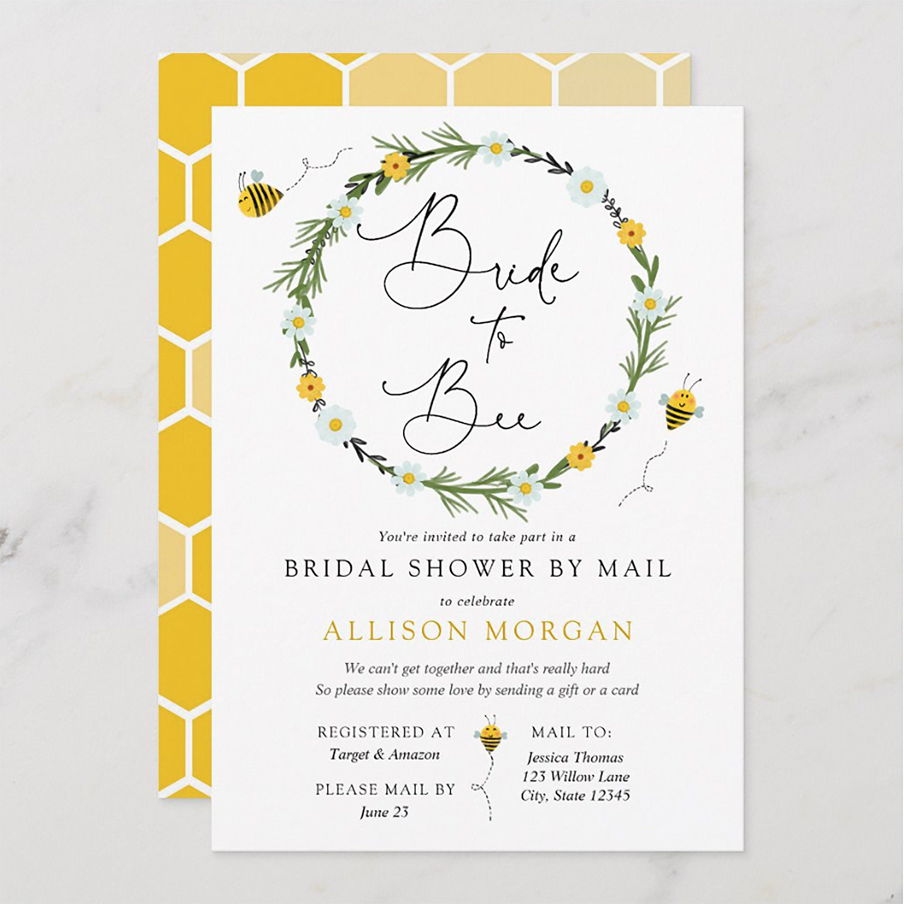 Bride to Bee Bridal Shower by Mail Invitation Long