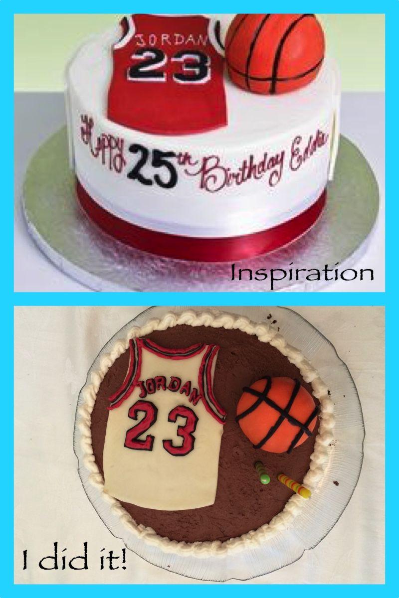Michael Jordan jersey and basketball birthday cake Not as fancy as