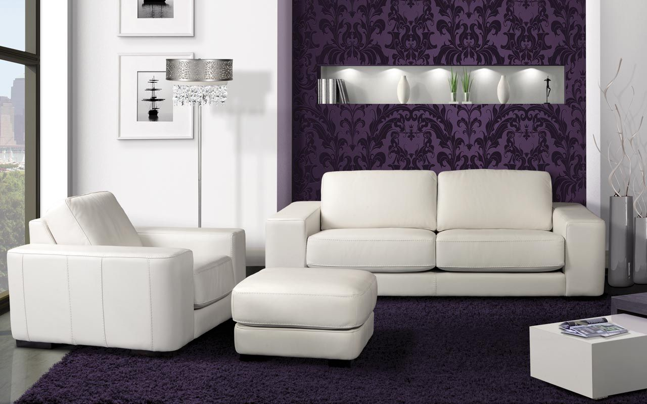 Sectional Baron - Modern Style - Platinum Collection White Leather ...