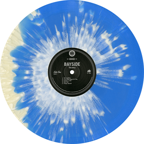 Vacancy Album By Bayside Hot Topic Exclusive Cloudy Clear Blue Swirl With White Splatter Vinyl Collection O Vinyl Artwork Music Album Design Vinyl Records