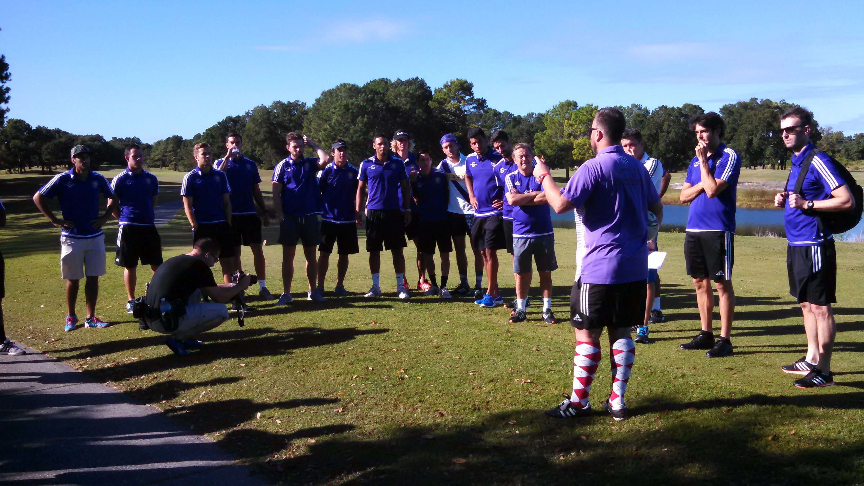 The teams learns the rules of FootGolf, discovers soccer is easier!