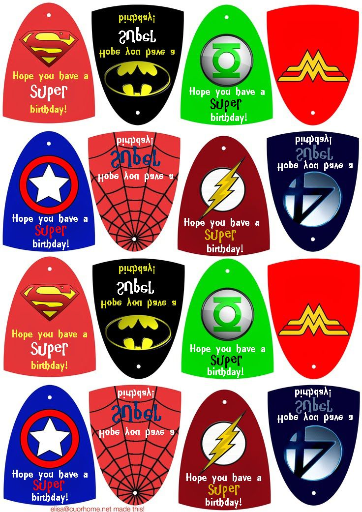 """Edited to say """"Hope you have a SUPER birthday!"""" Using for a cub scouts handout so I didn't edit Wonder Woman ;)"""