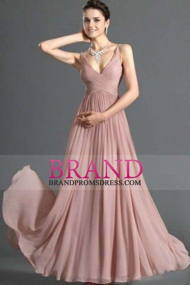 Modest wedding dresses under 200  Simple Prom Dresses A Line V Neck Floor Length Chiffon Cheap Under