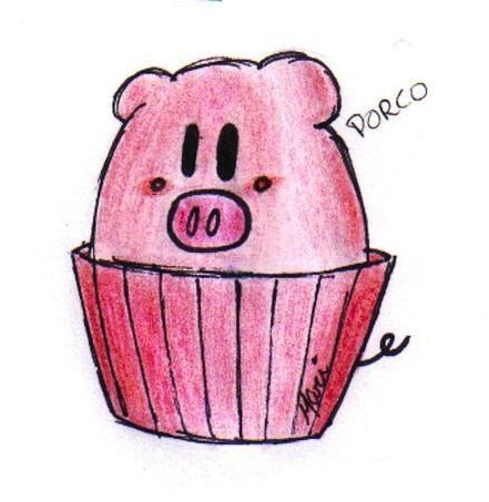 Pig cupcake.