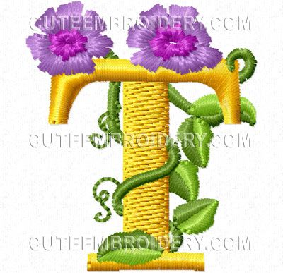 Free Embroidery Design Pretty Flowers Font Letter T