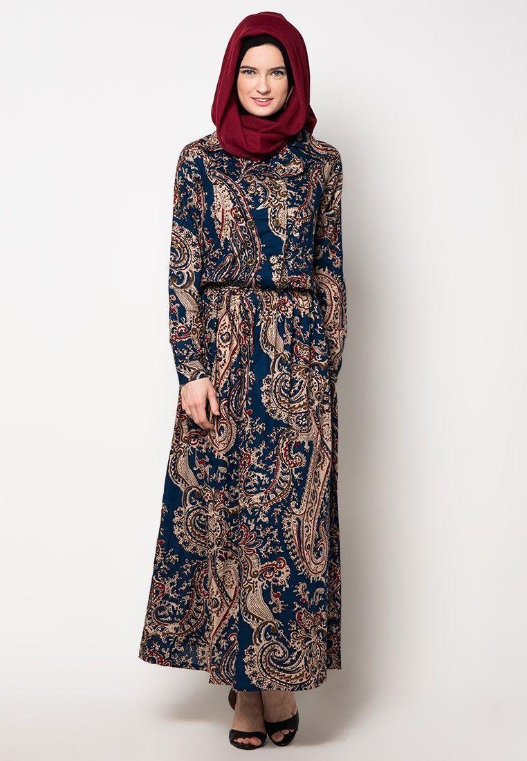 Model Gamis Batik Yang Elegan di 12  Wanita, Model pakaian