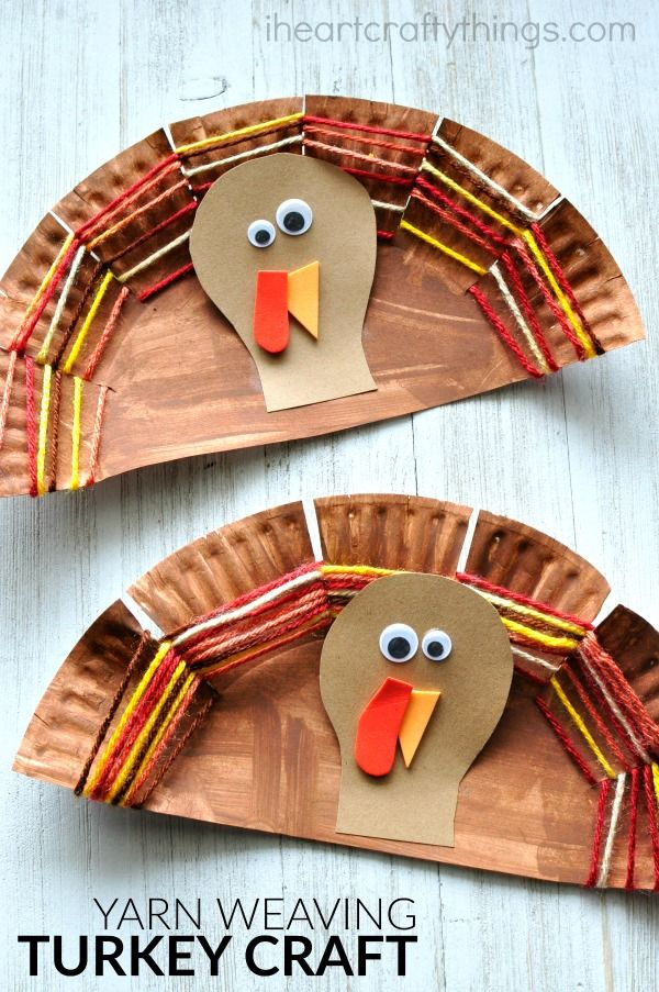 Paper Plate Yarn Weaving Turkey Craft Thanksgiving Crafts