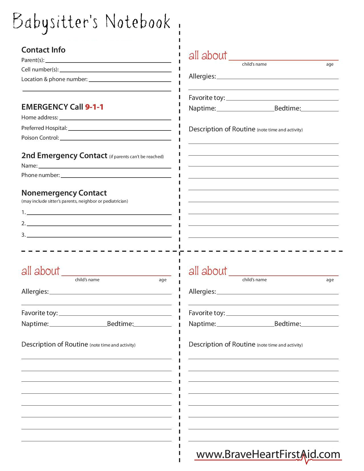 Printable babysitters notebook be prepared to register for one printable babysitters notebook be prepared to register for one of a upcoming red cross xflitez Images