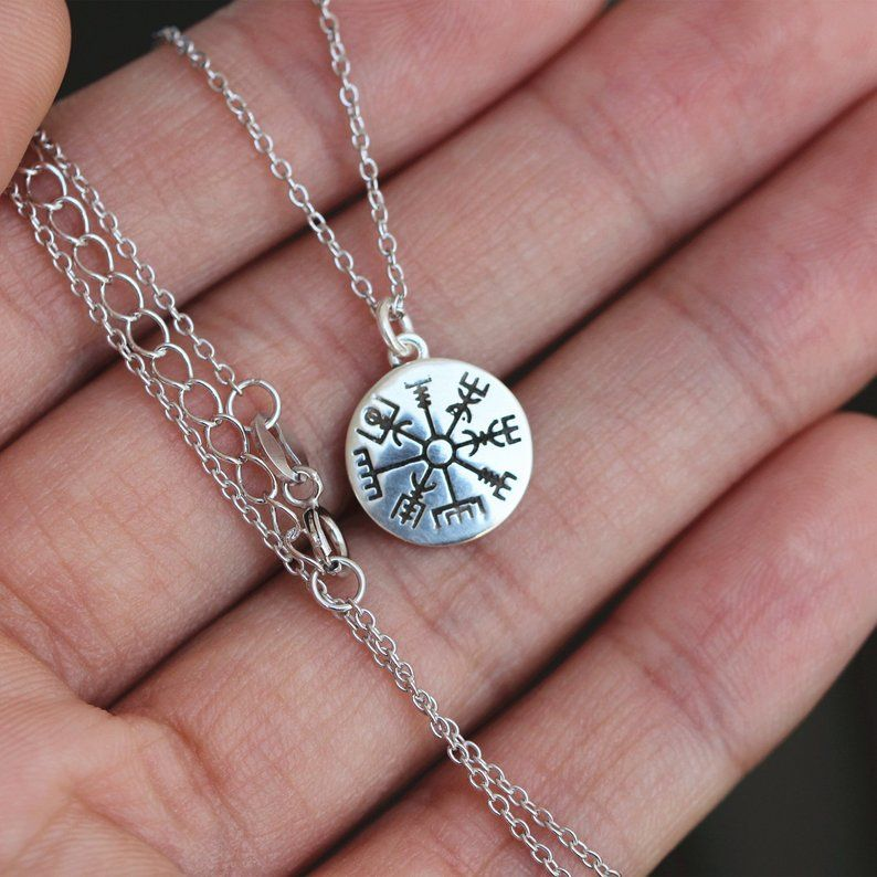 18 925 Sterling Silver Vegvisir Norse Runes Viking Compass Pendant Necklace