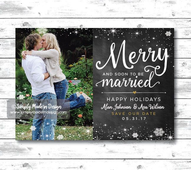 Wedding Save The Date Christmas Card Merry And Married Invitation Chalkboard Printable Or P