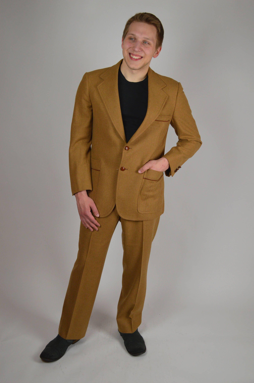 70s Suit Disco Suit Light Brown Suit Western Suit Wool Suit
