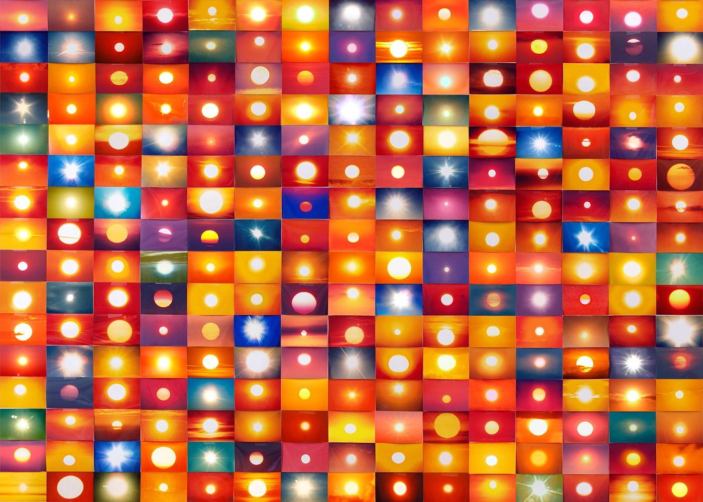 Penelope Umbrico, '541,795 Suns from Sunsets from Flickr (Partial) 01/23/06,' 2006-ongoing, detail, 2500 4 inch x 6 inch c-prints. Courtesy Mark Moore Gallery and Bruce Silverstein Gallery.