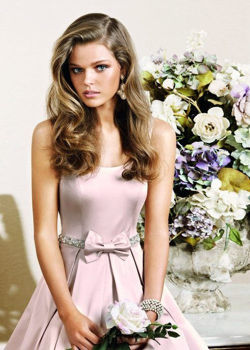 #Wedding Hair Down - very popular day-to-day hairstyle too. Pretty pink wedding dress also featured in this picture.