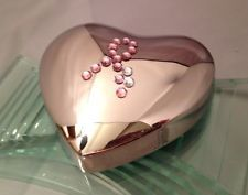 Silver plated heart Breast Cancer awareness paperweight