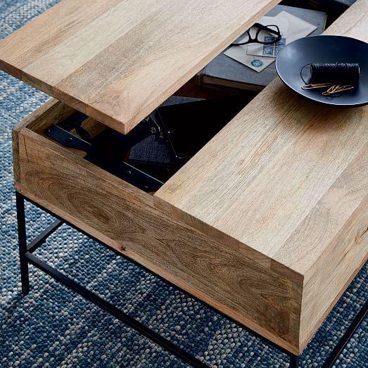Industrial Storage Pop Up Coffee Table Coffee Table Wood Industrial Coffee Table Rectangle Coffee Table Wood