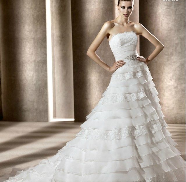 Wholesale Cheap 2014 Tube Top Designer A Line Wedding Gown With Multi Layered
