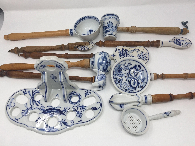Antique German Meissen Blue Onion Porcelain Kitchen