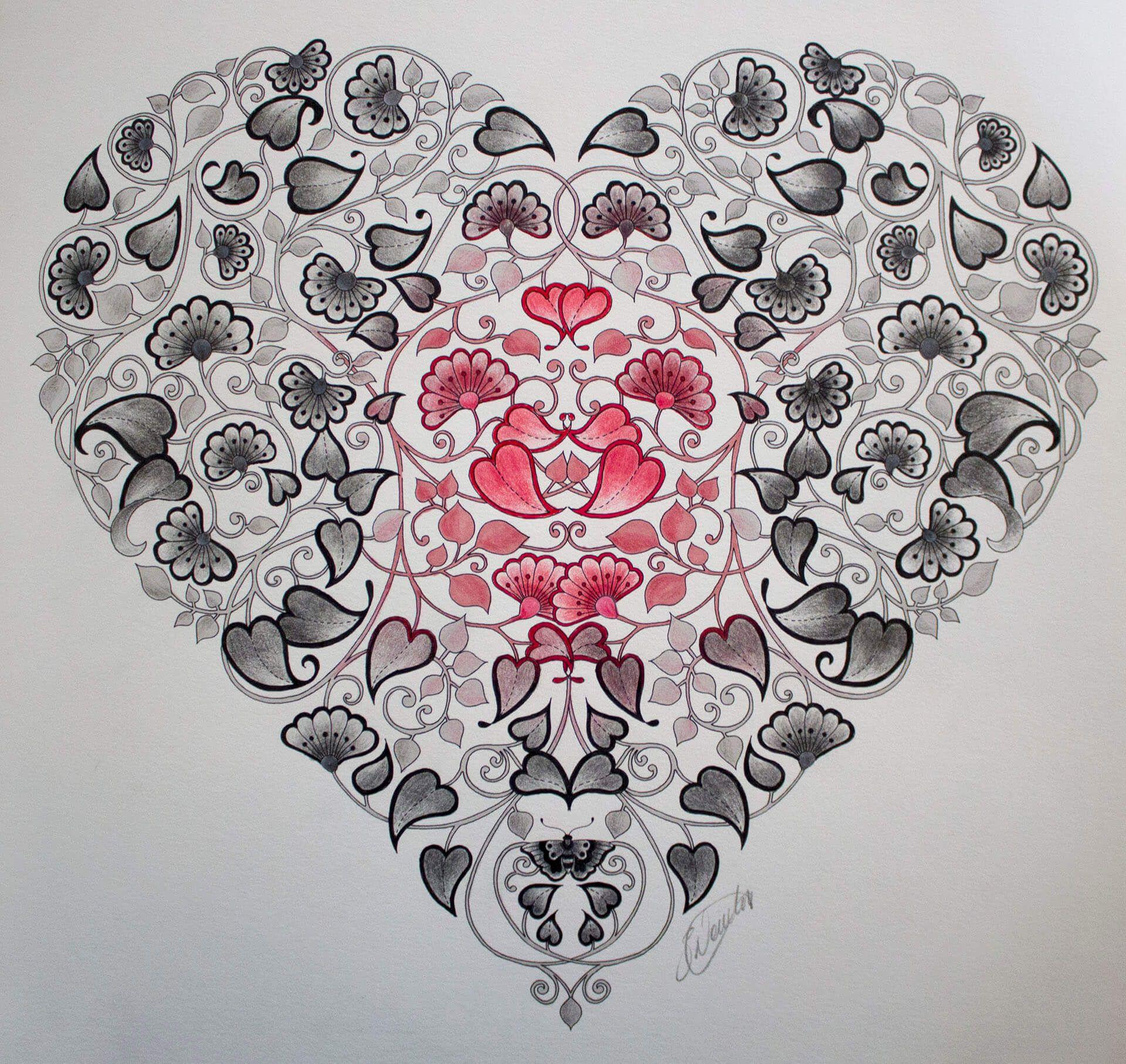 87 Secret Garden Coloring Book Heart