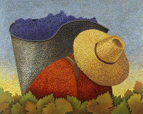 """Early Morning Harvest"", Lowell Herrero,  Acrylic on Canvas, 60 x 48"" • 2006"