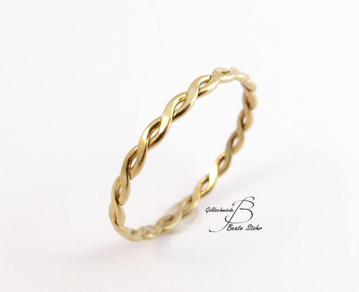 Goldring schmal  Kordel Ring 585 Gold Schmuck-Zart | Kordel, Gold und Ringe