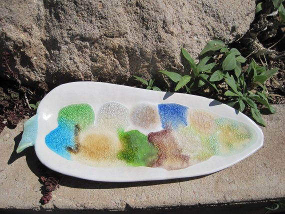 Leaf Serving Platter with varied colors of melted by ToshasPottery, $22.00