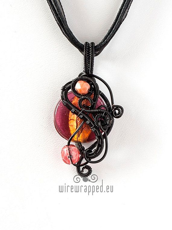 OOAK pink and orange wire wrapped pendant