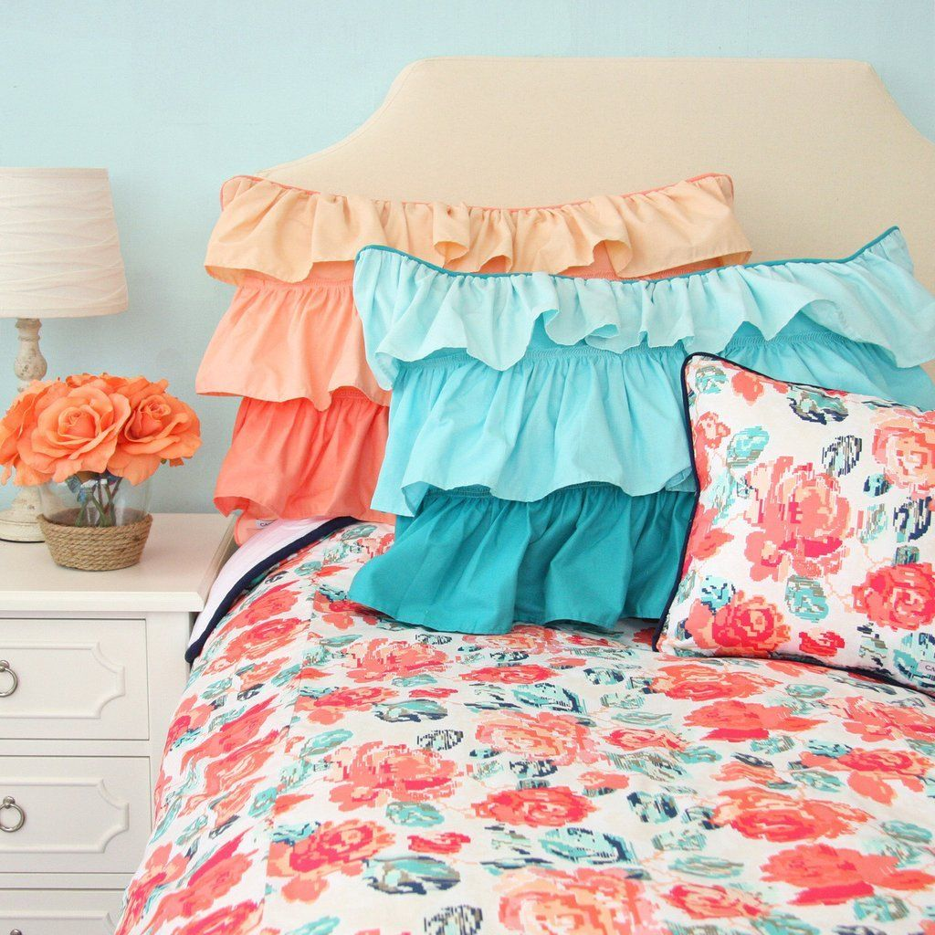 Girl S Twin Full Or Queen Bedding Collection In Coral Teal Floral Bedroom Color Schemes Coral Duvet Cover Coral Duvet