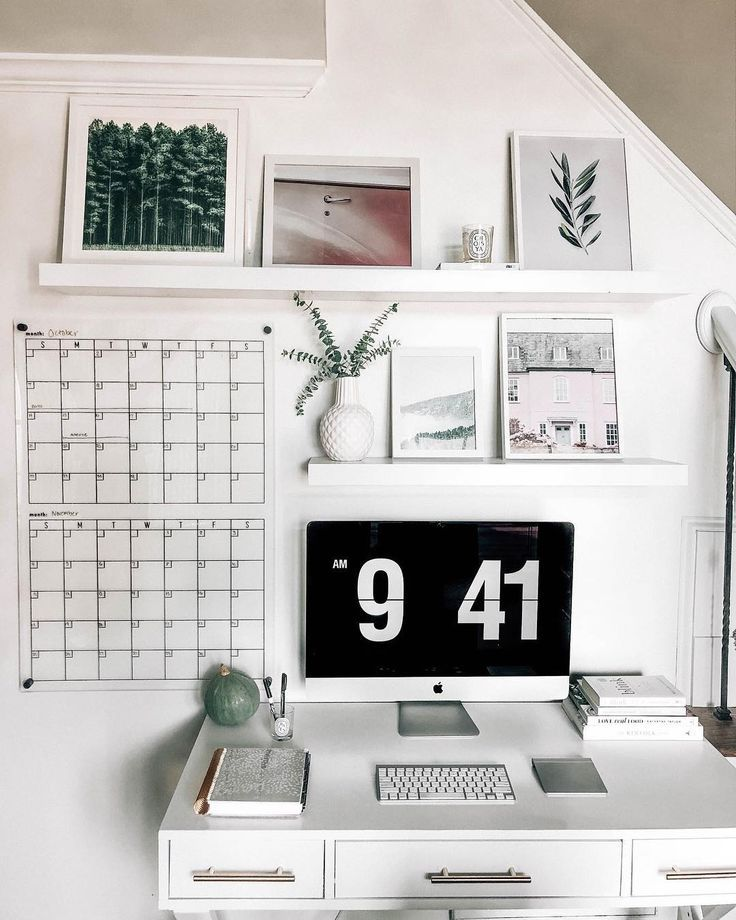 clean white minimal desk office space using pops of green and pink, acrylic calendar, white floating shelves, white desk @prettyinthepines -   22 desk decor shelves