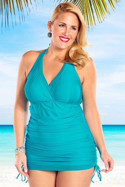 9a37a4408035f Our sexy Retro Halter Plus Size Swimdress features an adjustable length  skirt to let you control the coverage! Ruching and slimming tummy control  lining ...
