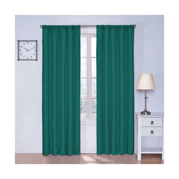 Eclipse Kids Microfiber Rich Teal 84-Inch Tall Blackout Window Curtain... ($20) ❤ liked on Polyvore featuring home, home decor, window treatments, curtains, light blocking curtains, teal blue curtains, rod pocket panels, teal blackout curtains and eclipse curtains