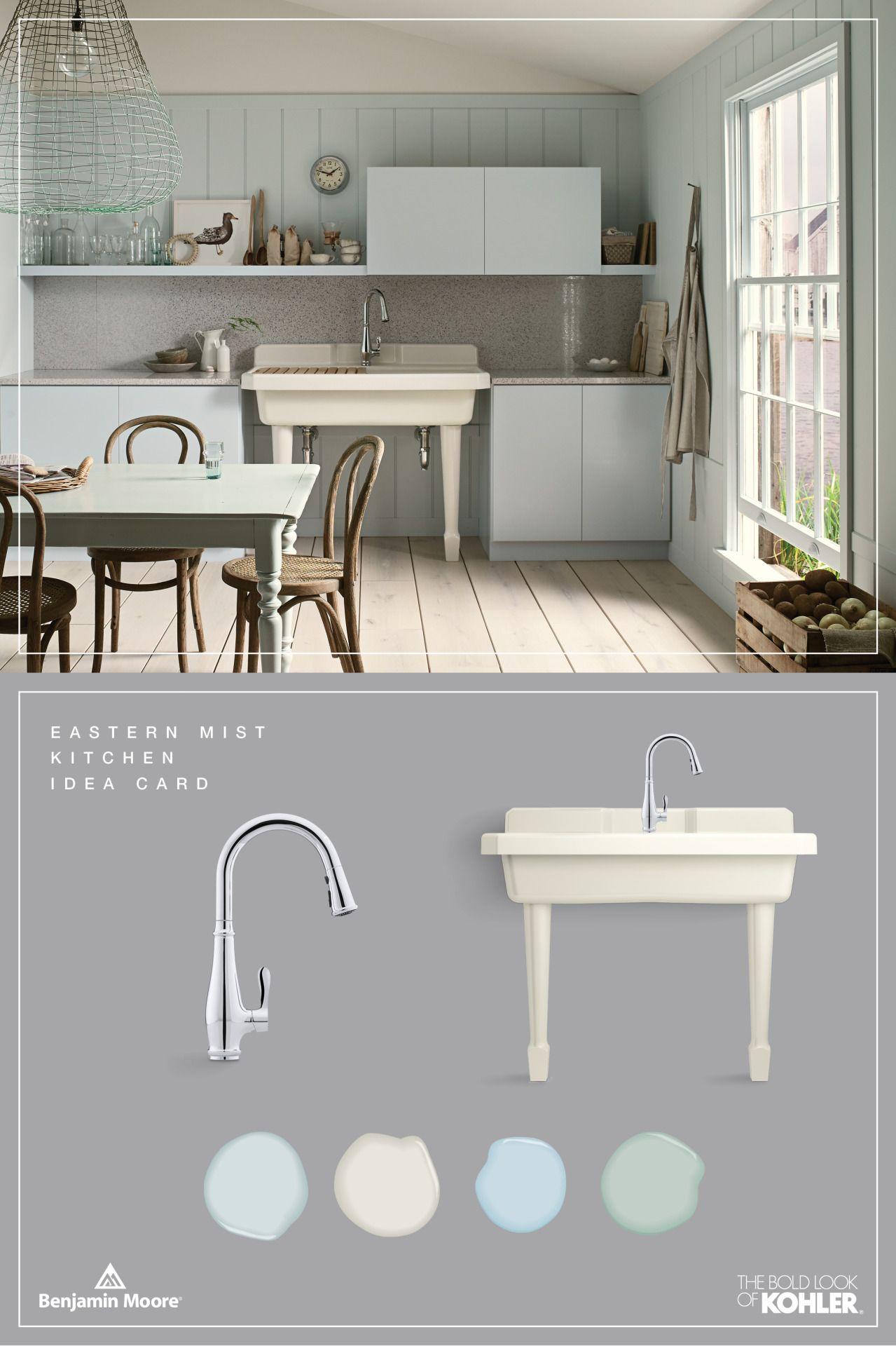 Benjamin moore palladian blue bathroom - Kohler Products Cruette Kitchen Faucet Harborview Utility Sink Benjamin Moore Paint Iceberg Cloud Cover Breath Of