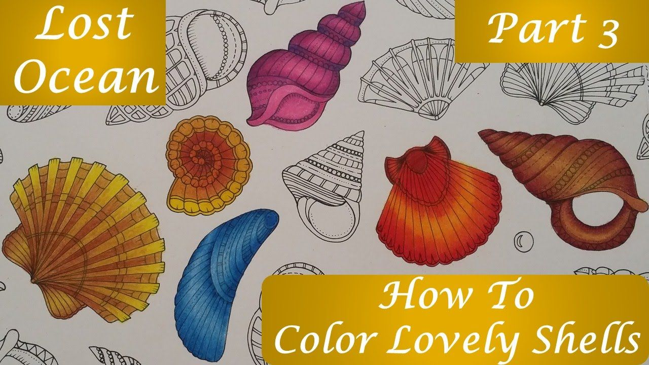 Watercolor pencils for adult coloring book - How To Color Lovely Shells Part 3 Lost Ocean Coloring Book By Johan Watercolor Pencilsadult